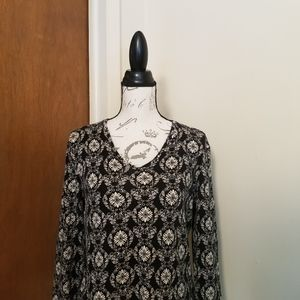 Jones New York SIG. LongSleeve Vneck Damask Top